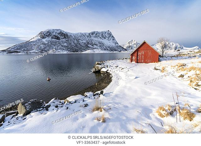 Red cabin in the snow with mountains in the background. Vestpollen, Leknes, Nordland county, Northern Norway, Norway