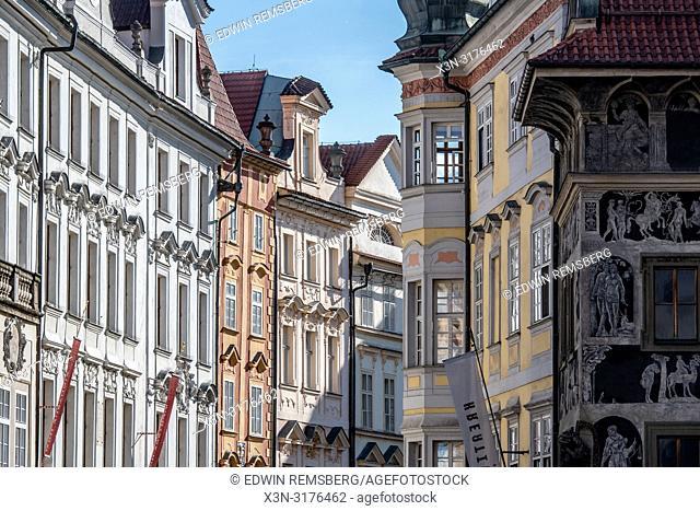Distant view down a remote, scenic street in Prague - Czech Republic