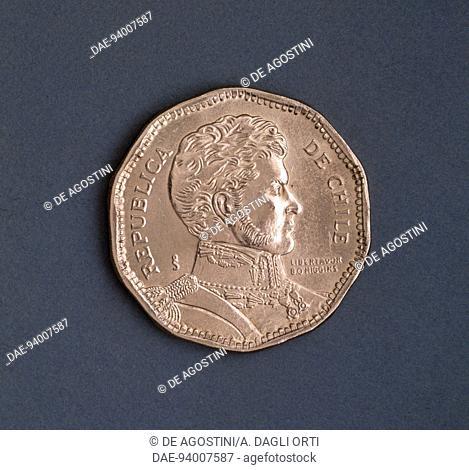 50 pesos coin, 1991, obverse, Bernardo O'Higgins Riquelme (1778-1842). Chile, 20th century