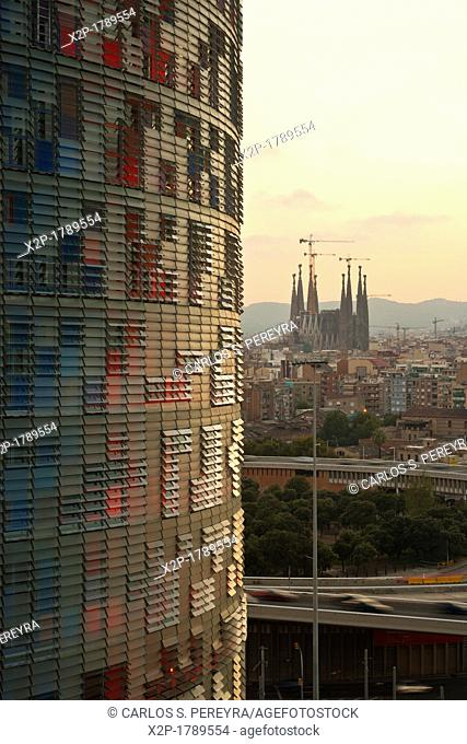 Panoramic of Barcelona, with the Agbar Tower and Sagrada Familia Church, Barcelona, Spain