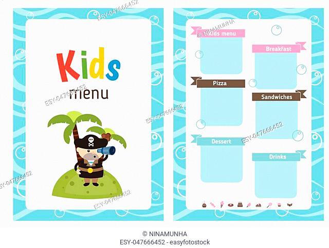 Kids menu card with cute cartoon pirate. Cute colorful kids meal restaurant menu vector template