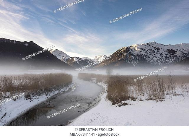 Misty mood at the creek inlet of the Achensee, Tyrol