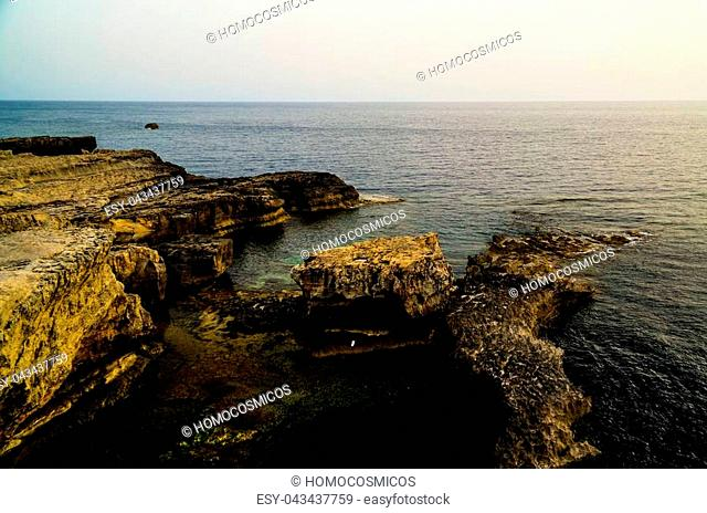 Sea view from Azure window natural arch, now vanished, Gozo island Malta