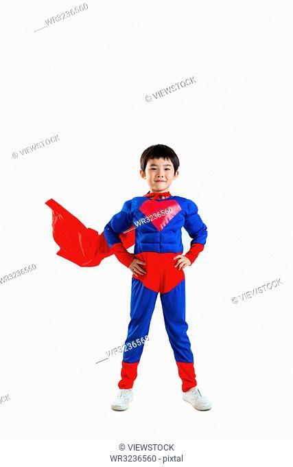 The little boy dress up as superman