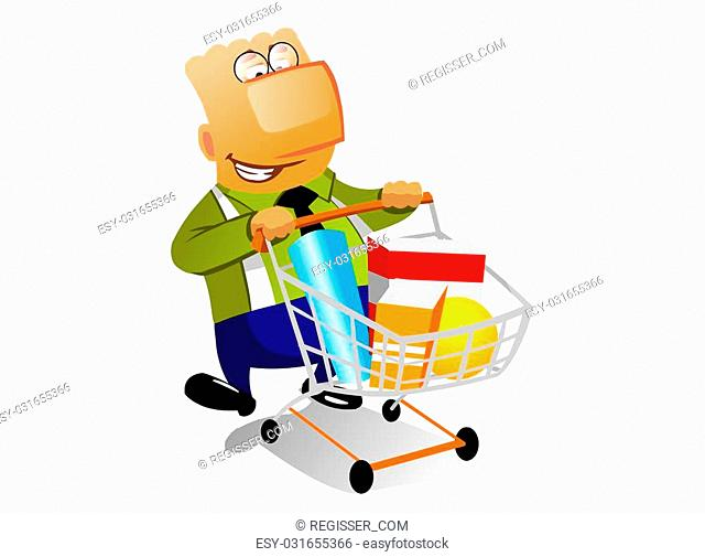 This is the illustration of happy businessman with full shopingcart in supermarket. Isolated