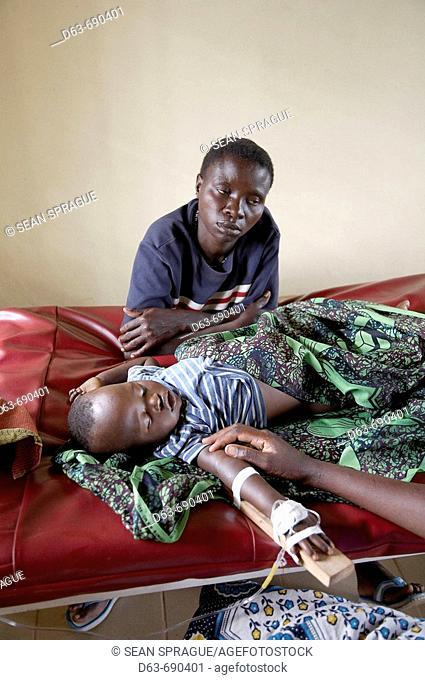Baby sick with cerebral malaria, Kowak hospital. Tanzania