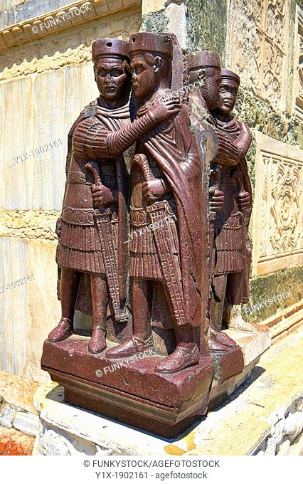 The Tetrach Statues showing the Emperor Diocletian and his co Emperor Maximian embrassing in friendship  foreground sculpted in Egyptian porphyry stone  The...