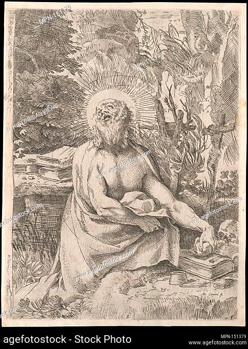 Saint Jerome in the Wilderness. Artist: Annibale Carracci (Italian, Bologna 1560-1609 Rome); Date: ca. 1591; Medium: Etching and Engraving; Dimensions: 9 3/4 x...