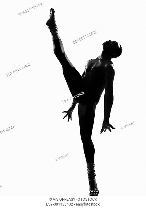 one african man dancer dancing on studio isolated white background