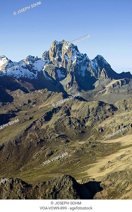 Aerial of Mount Kenya, Africa and snow in January, the second highest mountain at 17,058 feet or 5199 Meters