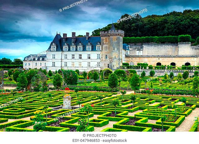 Fantastic spectacular labyrinth in the ornamental garden of Villandry castle with colorful flowers and fresh vegetables, Loire valley, France, Europe
