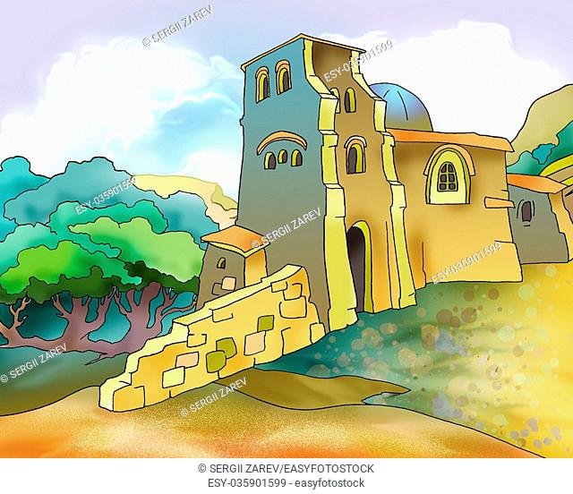 Old Medieval Fortress in Georgia. Digital Painting Background, Illustration in cartoon style character