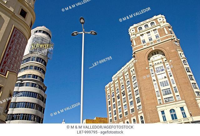 Callao Square and Gran Via Avenue  Madrid  Spain