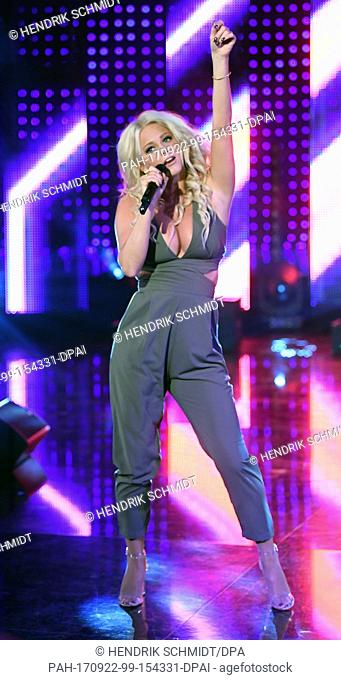 Swedish Schlager singer Julia Lindholm performs during the shooting of the TV show 'Meine Schlagerwelt - Die Faschingsparty' (lit