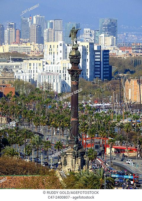 Columbus monument, Barcelona. Catalonia, Spain