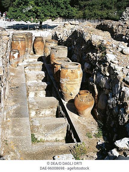 Greece - Crete - Knossos. Palace of Minos. Storage quarters. Jars