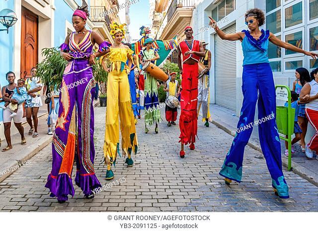 Street Entertainers Dancing On Stilts, Old Havana, Havana, Cuba