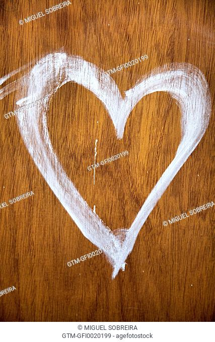 White Painted Heart on Wood