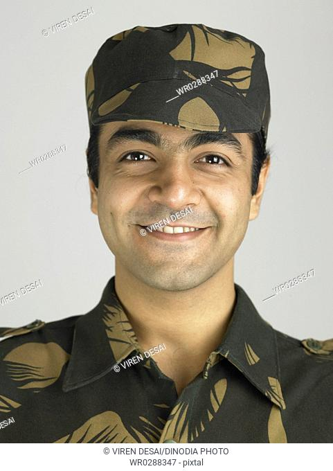 Close ups of Indian army soldier in happy expression MR702A