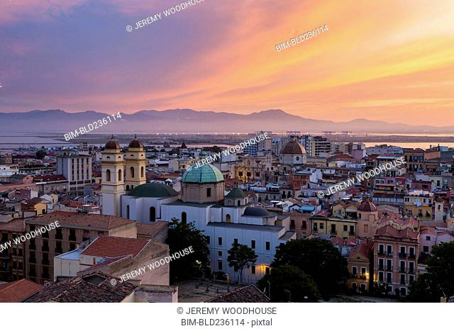 Waterfront cityscape at sunset, Cagliari, Provincia di Cagliari, Italy