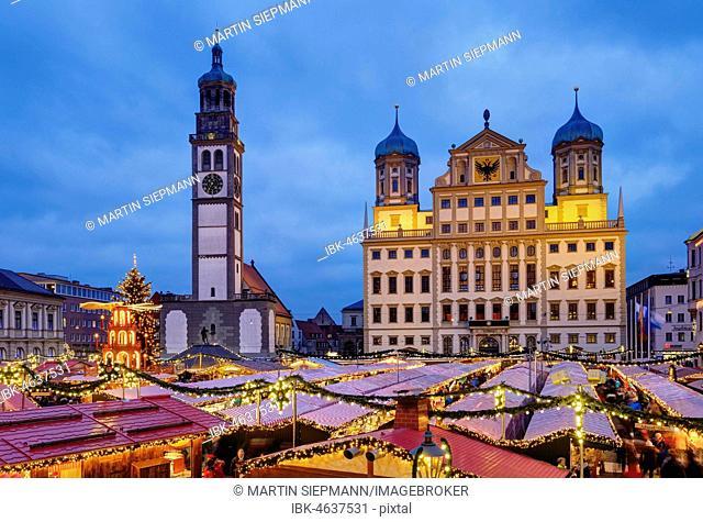Christmas market, Perlach Tower and Town Hall, Rathausplatz, at dusk, Augsburg, Swabia, Bavaria, Germany