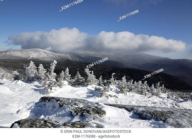 Presidential Range from the summit of Mount Jackson during the winter months in the White Mountains, New Hampshire USA at dawn