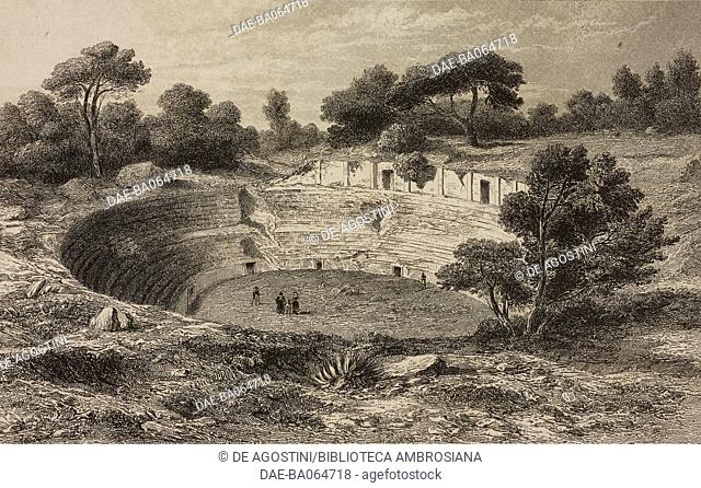 Roman amphitheatre, Sutri, Italy, engraving by Lemaitre from Italie Ancienne, first part, by Duruy, Filon, Lacroix and Yanoski, L'Univers pittoresque