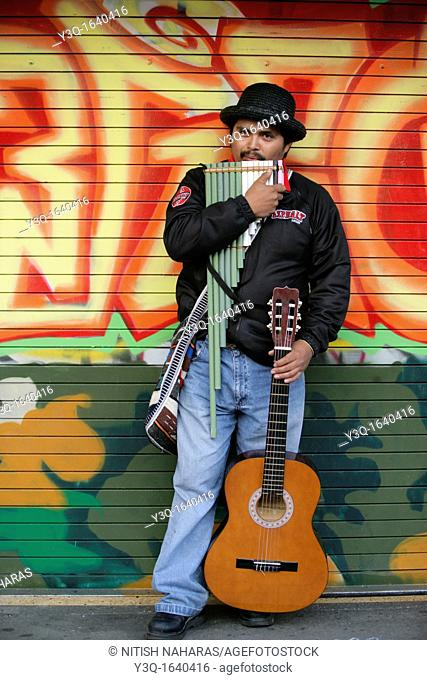 Portrait of a hispanic musician on Mission Street, San Francisco, California, USA  Mission District is one of the most colorful neighborhoods of San Francisco...