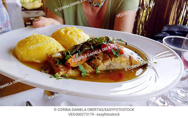 Carp saramura, Romanian traditional dish from Dobruja, made of grilled carp in brine-based sauce with vegetables and polenta