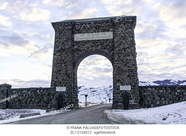 Main Gate at Yellowstone Mammoth Falls, Wyoming USA