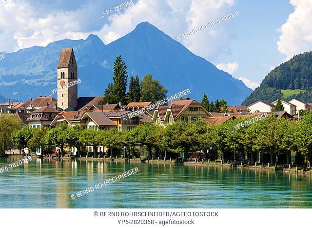 Unterseen with river Aare, Interlaken, Bernese Oberland, Switzerland