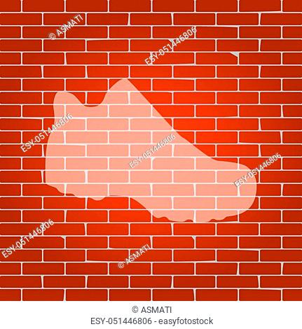 Boot sign. Vector. Whitish icon on brick wall as background