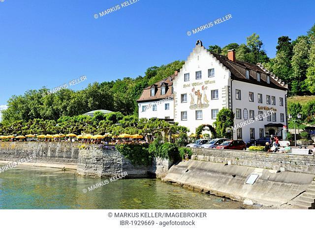 Hotel and dance hall Zum Wilden Mann at the promenade of Meersburg, Bodenseekreis county, Baden-Wuerttemberg, Germany, Europe