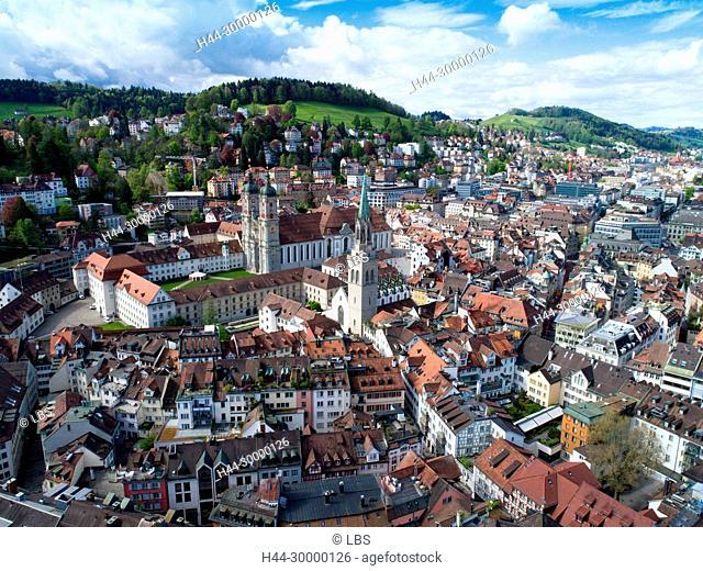 Luftaufnahme Stiftskriche der Stadt St. Gallen