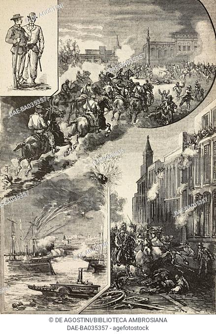 Insurgents from the Union Civica, fighting in General Lavalle square, in the harbour and in a city street, Buenos Aires, Argentina, Buenos Aires Revolution