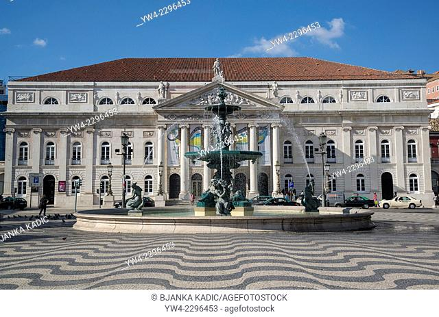 National Theatre D. Maria II, Rossio Square, Lisbon, Portugal