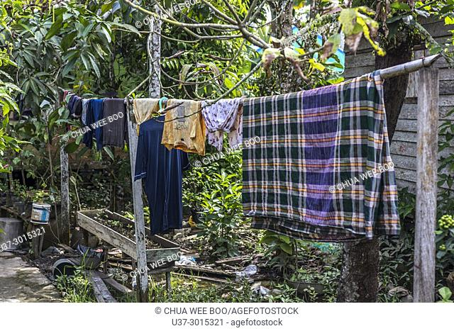 Clothes hanging from clothesline at Agung Jami' Sultan Muhammad Tsafiuddin, Sambas, West Kalimantan, Indonesia