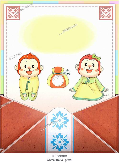 New year with two smiling monkeys in traditional Korean clothes and fortune bag