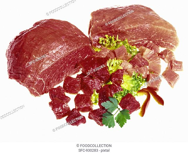 Pork joint and diced pork, beef joint and diced beef