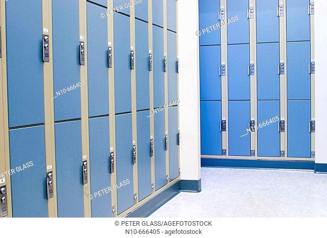 Closed student lockers at a college