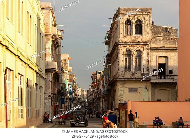 A typical street scene in Central Havana, Cuba