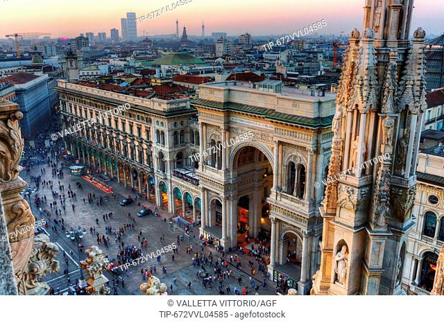 Italy, Lombardy, Milan, Galleria Vittorio Emanuele II viewed from the Duomo roof