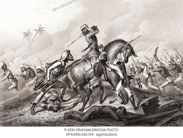 Havelocks column attacking the mutineers before Cawnpore, India, Asia