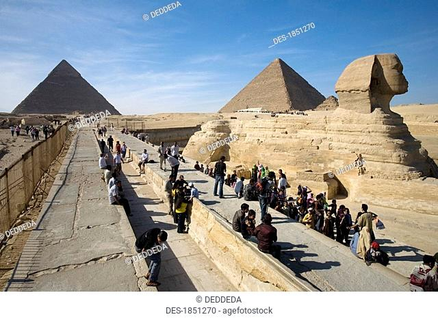 Tourists at the Sphinx and Pyramids
