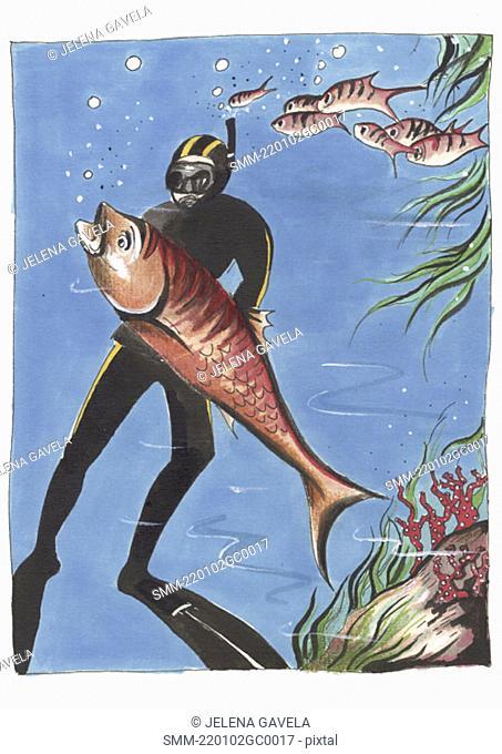 Scuba diver catching a big fish
