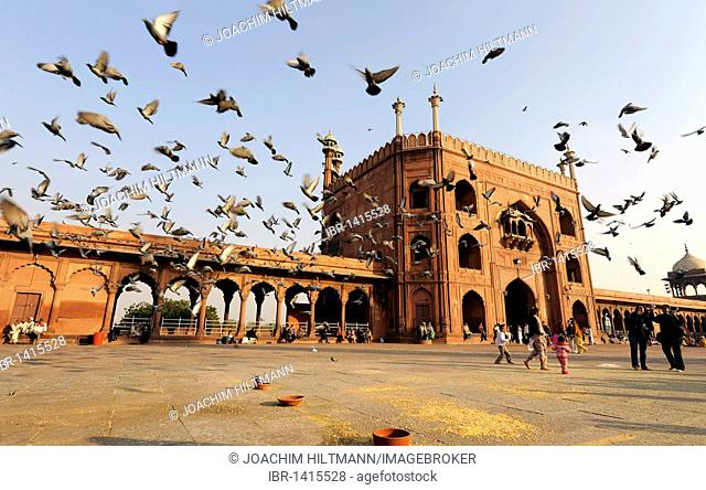 Main gate of the Friday Mosque Jama Masjid, Old Delhi, Delhi, Uttar Pradesh, North India, India, South Asia, Asia
