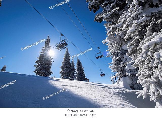 Ski lift over ski slope