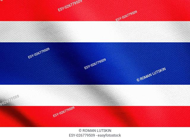 Flag of Thailand waving in the wind with detailed fabric texture. Thai national flag