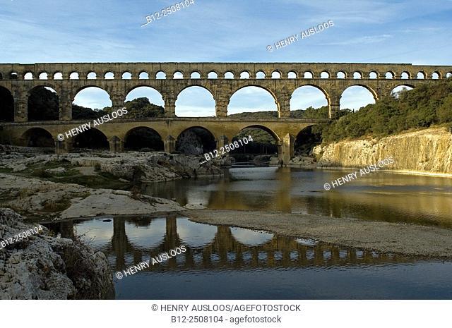 Pont du Gard and Gardon river, France