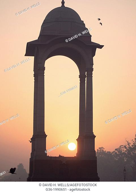 Historic chhattri at sunrise at India Gate in New Delhi, India